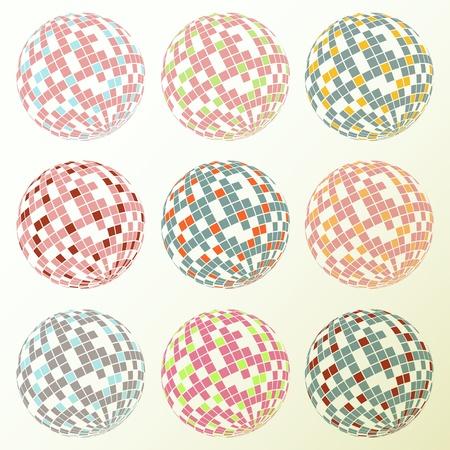 Disco balls set retro background for poster Vector