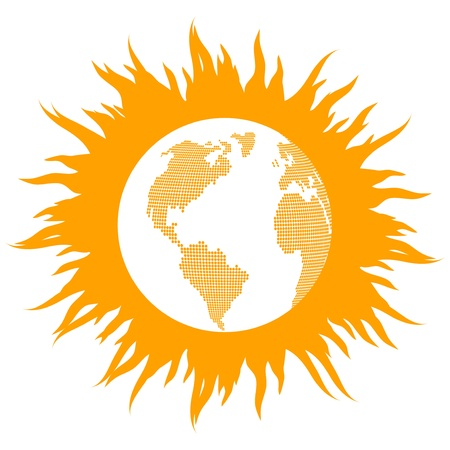 Global warming concept with burning globe like sun background concept