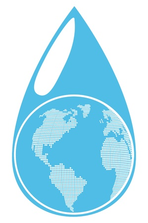 Globe inside water drop global warming background concept Vector
