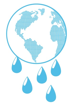 save the planet: Globe with water drops global warming background concept Illustration