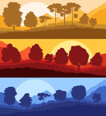 cedar: Forest trees silhouettes landscape illustration set