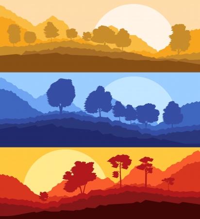 Forest trees silhouettes landscape illustration set Vector