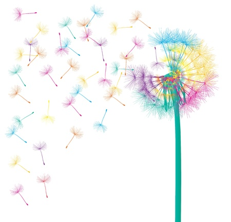Blow dandelion abstract background concept for poster Ilustrace