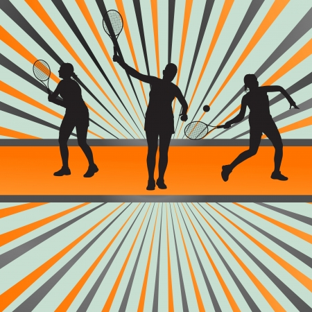 backhand: Tennis players silhouettes background concept