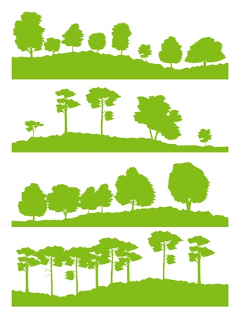 Forest trees silhouettes landscape illustration Vector