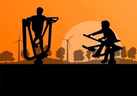 school yard: Young children in playground