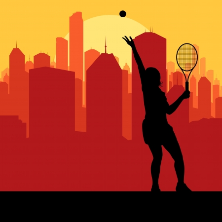 Tennis player silhouette and city in sunset Illustration