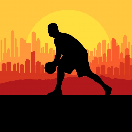 Basketball player in front of city sunset vector background for poster Vector