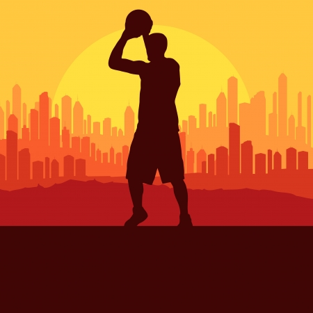 layup: Basketball player in front of city sunset vector background for poster