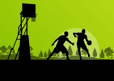 Basketball player landscape vector background concept for poster Vector