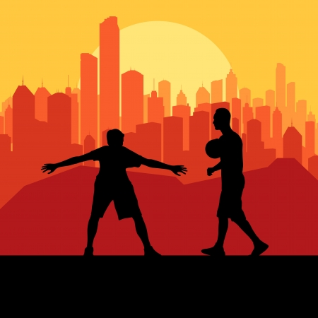 Basketball player in front of city sunset vector background concept for poster Vector