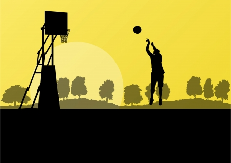 layup: Basketball player landscape vector background concept for poster