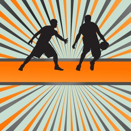 포스터 농구 선수 벡터 추상적 인 배경 개념 일러스트