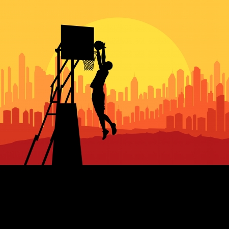 layup: Basketball player in front of city sunset vector background concept for poster