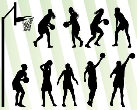feminino: Vetor Mulheres basquete fundo silhueta conjunto para o cartaz Ilustração