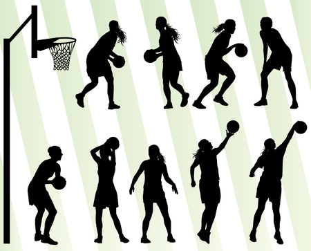 dribbling: Women basketball vector background silhouette set for poster Illustration