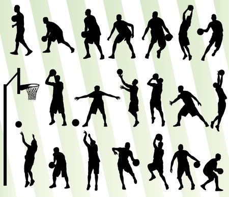 人バスケット ボール ベクトル背景シルエット ポスター セット