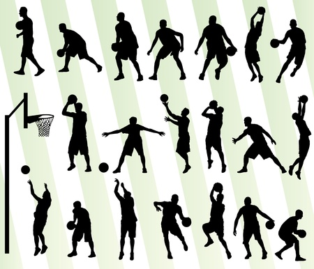 basketball shot: Man basketball vector background silhouette set for poster