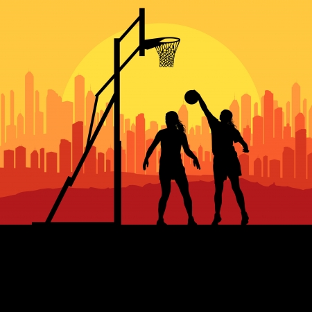 Basketball player in front of city sunset vector background concept for poster