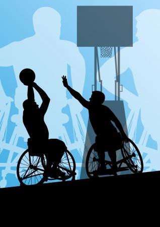 persona en silla de ruedas: Hombre en silla de ruedas jugando al baloncesto, discapacitado vector concepto de fondo