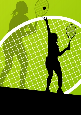 junior: Tennis players detailed silhouettes vector background concept