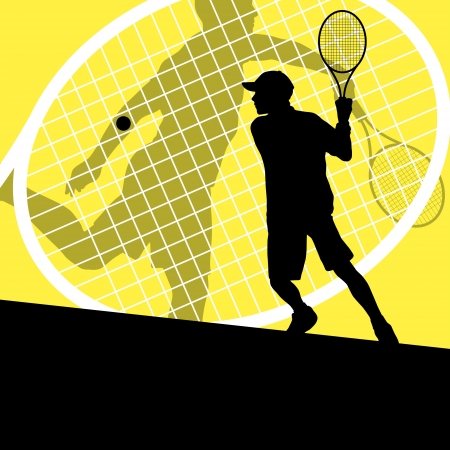 juniors: Tennis players detailed silhouettes vector background concept