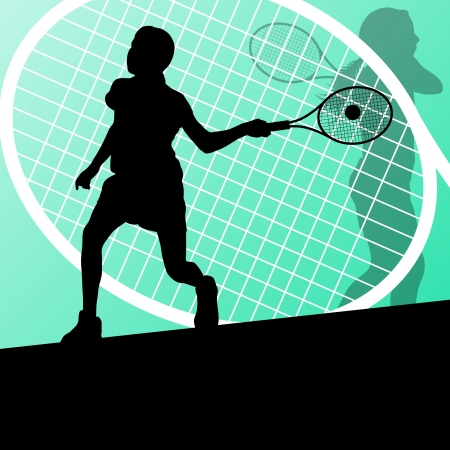 Tennis players detailed silhouettes vector background concept Vector
