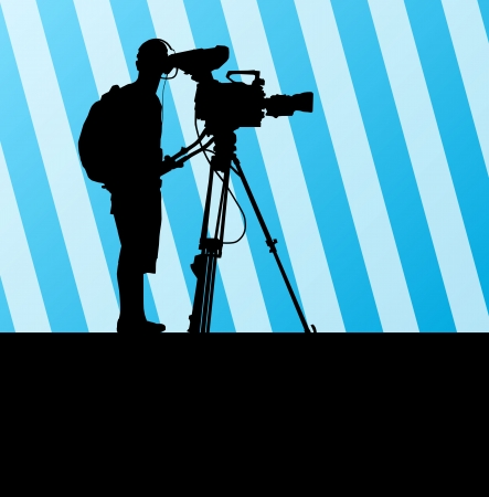 cinematographer: Cameramen and camcorder video operator vector background for poster Illustration