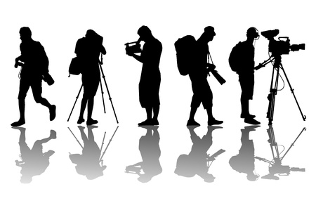 camera operator: Cameramen and camcorder video operator vector background for poster Illustration