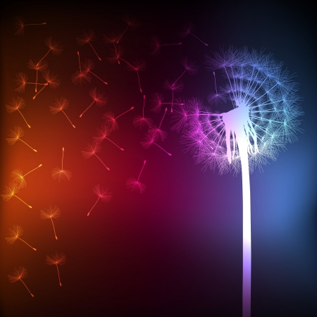 Blow dandelion vector background concept for poster