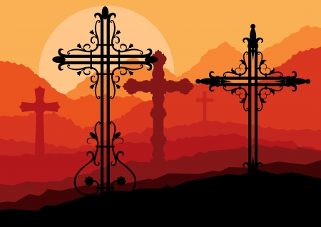 bible light: Cross on a hill at sunset vector background concept landscape for poster