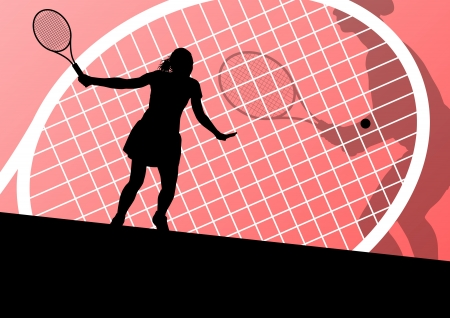 tennis net: Tennis players detailed silhouettes vector background concept illustration