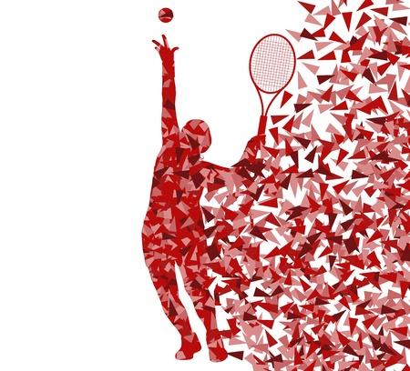 Tennissers silhouetten vector achtergrond begrip gemaakt van fragmenten voor poster