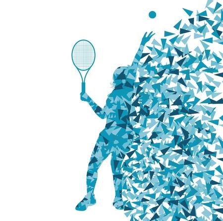 테니스 선수 포스터 조각으로 만든 벡터, 배경, 개념, 실루엣