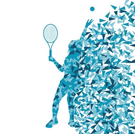 raqueta de tenis: Los jugadores de tenis siluetas vector concepto de fondo hecha de fragmentos para el cartel