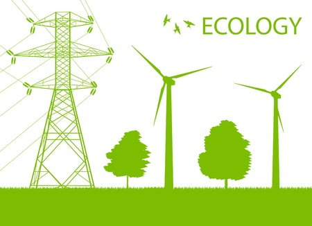 high voltage: Wind alternative energy generator green vector background and high voltage line for poster