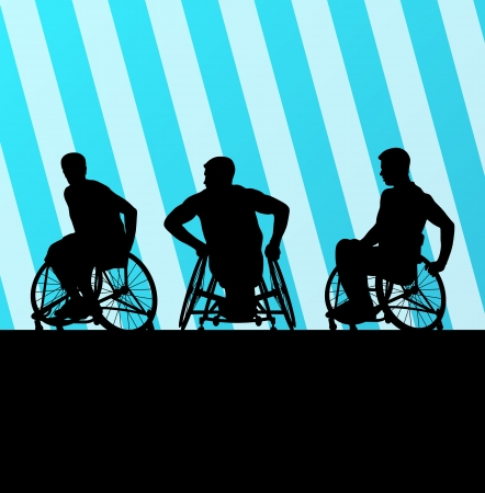 paralysis: Disabled person in wheelchair vector background concept Illustration