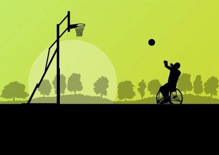 disabled sports: Man in wheelchair playing basketball, disabled person vector background concept Illustration