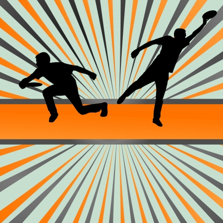 thrower: Disk thrower and catcher active people sport background illustration vector