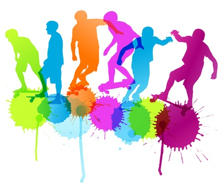 skate park: Skateboarders detailed silhouettes vector background concept with ink splashes for poster