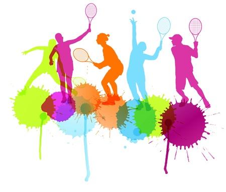 tennis racket: Los jugadores de tenis siluetas vector concepto de fondo con salpicaduras de tinta