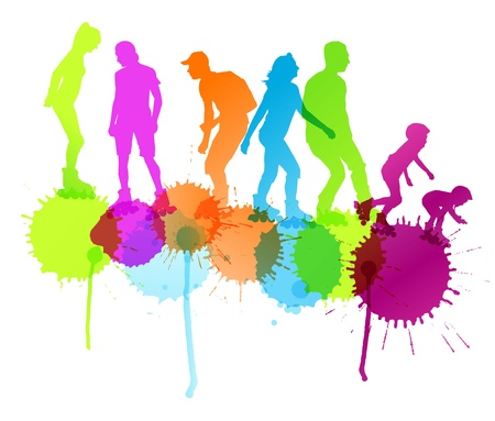 rollerblade: Rollerskating silhouettes vector background concept with ink splashes for poster