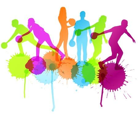 quille de bowling: Bowling player vector silhouettes concept de fond avec des �claboussures d'encre pour l'affiche