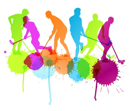 Floorball player vector silhouette background concept with ink splashes for poster Illustration