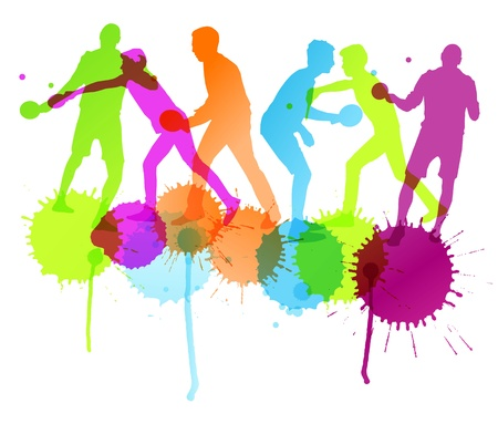 Table tennis player silhouettes ping pong vector background with ink splashes Vectores