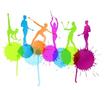 Gimnasia rítmica mujer con clubes del fondo del vector salpicaduras concepto para el cartel