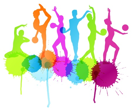 rhythmic gymnastic: Rhythmic gymnastics woman with ball vector background splashes for poster