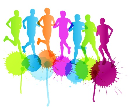 first job: Group of runners vector background concept splashes for poster