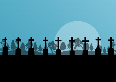 almighty: Cross on a hill at sunset vector background concept landscape for poster