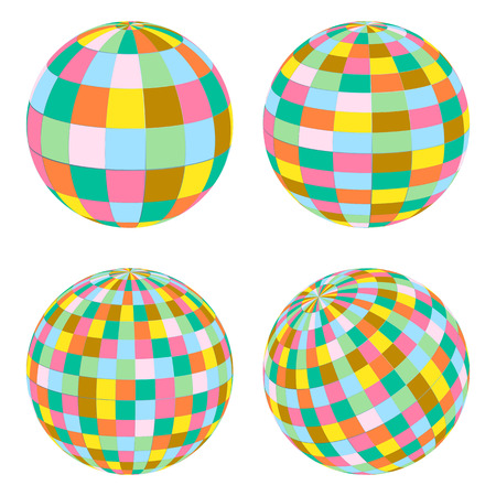 Disco balls set retro vector background for poster Vector
